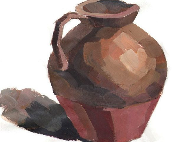 水粉画绘画教程之朴素的陶罐