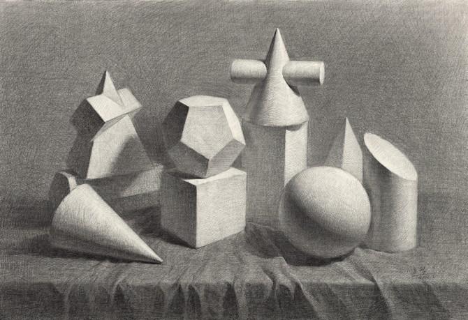 素描石膏几何体绘画教程