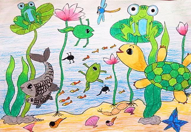 幼儿园中班美术教案 热闹的池塘简笔画